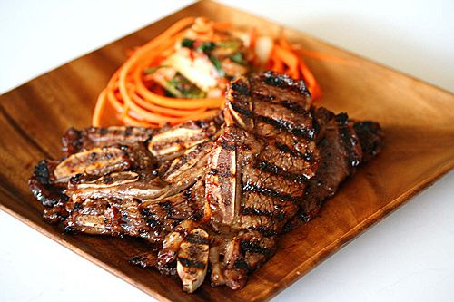 Beef short ribs marinated in soy sauce, scallion, ginger and sweet ...